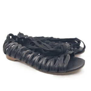 Marc By Marc Jacobs Black Leather Lace Up Flats
